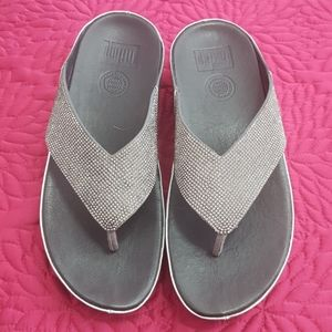 Fitflop crystal pewter leather sandals